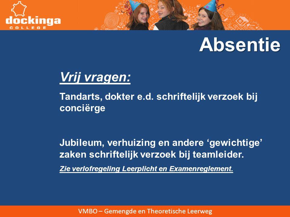 VMBO – Gemengde en Theoretische Leerweg Vrij vragen: Tandarts, dokter e.d.