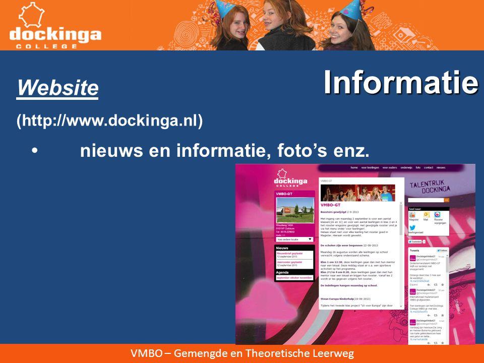 VMBO – Gemengde en Theoretische Leerweg Website (http://www.dockinga.nl) nieuws en informatie, foto's enz. Informatie