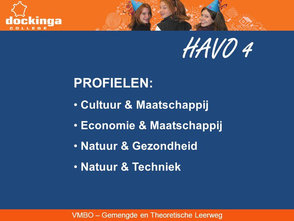 VMBO – Gemengde en Theoretische Leerweg HAVO 4 PROFIELEN: Cultuur & Maatschappij Economie & Maatschappij Natuur & Gezondheid Natuur & Techniek