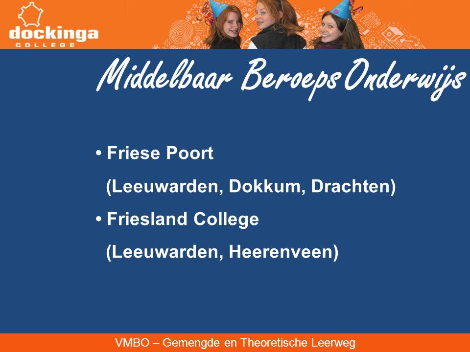 VMBO – Gemengde en Theoretische Leerweg Middelbaar Beroeps Onderwijs Friese Poort (Leeuwarden, Dokkum, Drachten) Friesland College (Leeuwarden, Heeren