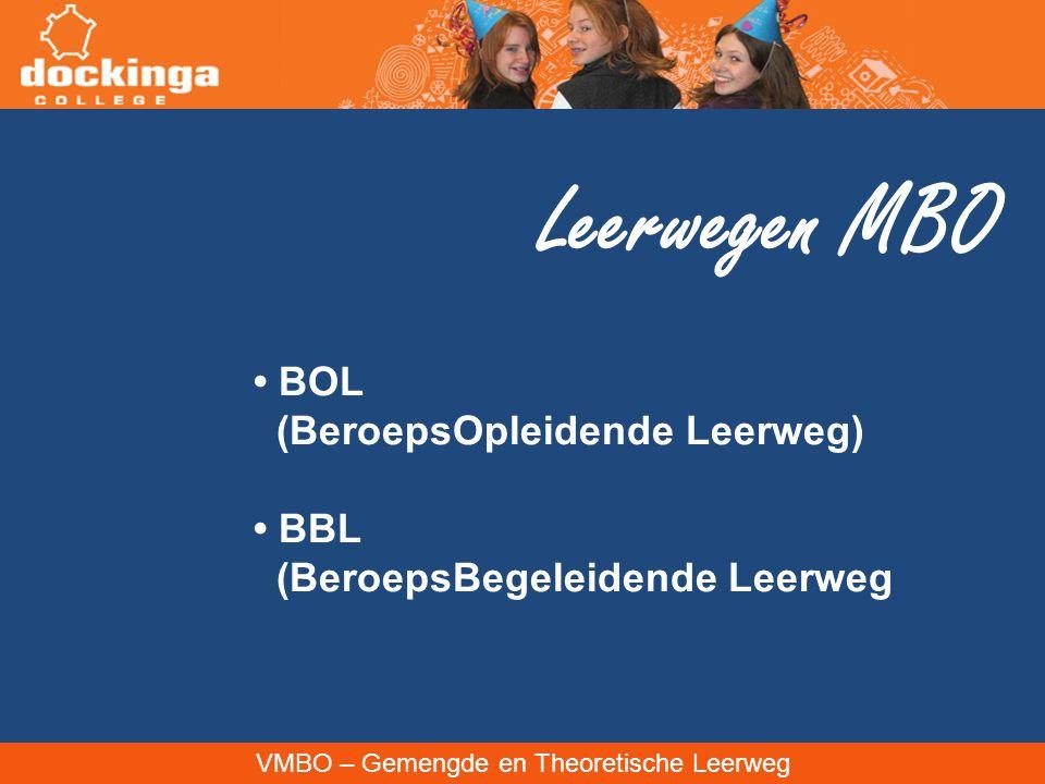 VMBO – Gemengde en Theoretische Leerweg Leerwegen MBO BOL (BeroepsOpleidende Leerweg) BBL (BeroepsBegeleidende Leerweg