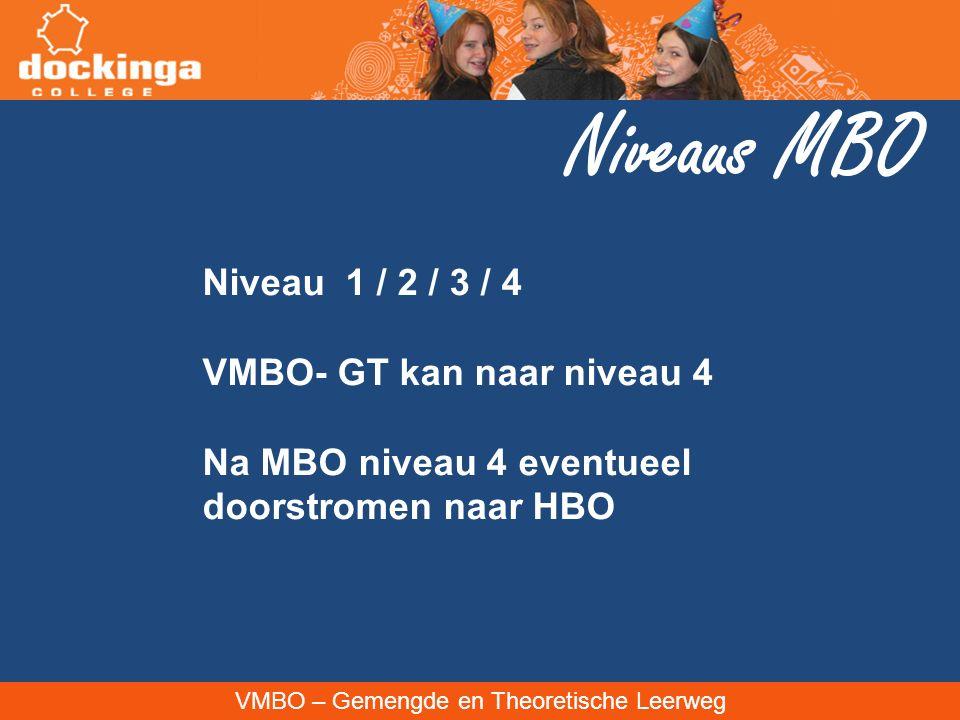 VMBO – Gemengde en Theoretische Leerweg Niveaus MBO Niveau 1 / 2 / 3 / 4 VMBO- GT kan naar niveau 4 Na MBO niveau 4 eventueel doorstromen naar HBO