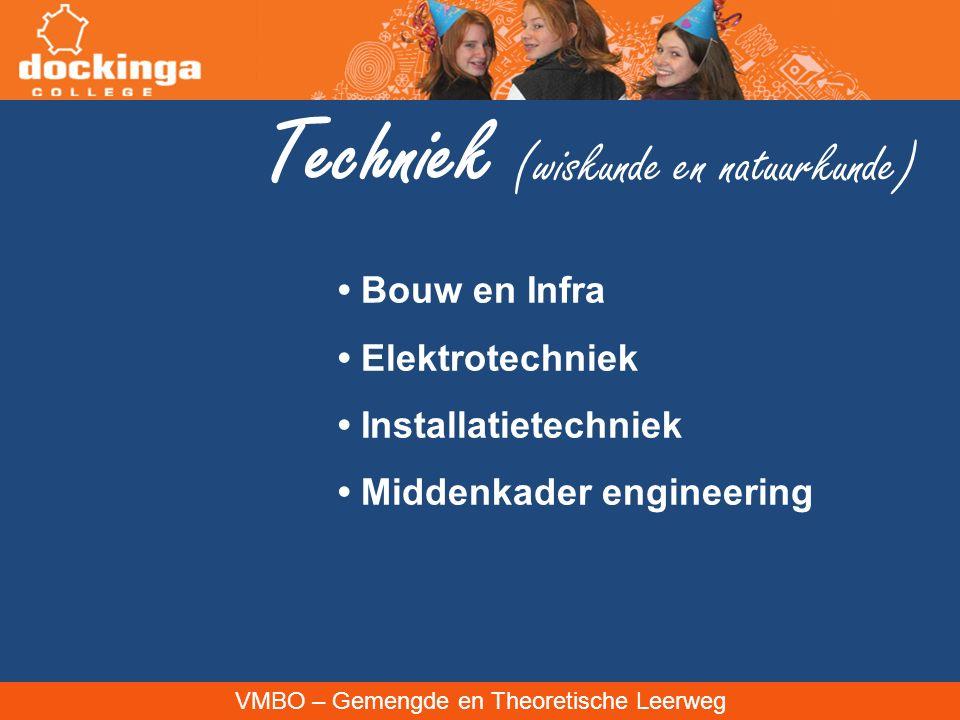 VMBO – Gemengde en Theoretische Leerweg Techniek (wiskunde en natuurkunde) Bouw en Infra Elektrotechniek Installatietechniek Middenkader engineering