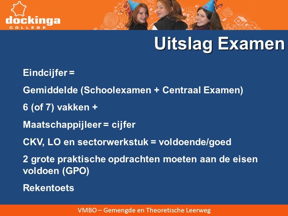 VMBO – Gemengde en Theoretische Leerweg Eindcijfer = Gemiddelde (Schoolexamen + Centraal Examen) 6 (of 7) vakken + Maatschappijleer = cijfer CKV, LO e