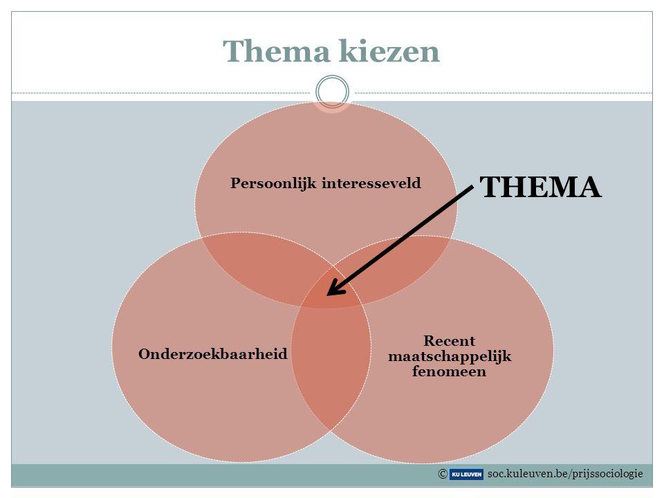 Thema kiezen Persoonlijk interesseveld Recent maatschappelijk fenomeen Onderzoekbaarheid THEMA © soc.kuleuven.be/prijssociologie