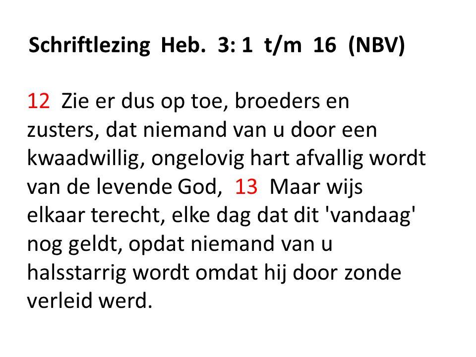 Schriftlezing Heb. 3: 1 t/m 16 (NBV) 12 Zie er dus op toe, broeders en zusters, dat niemand van u door een kwaadwillig, ongelovig hart afvallig wordt