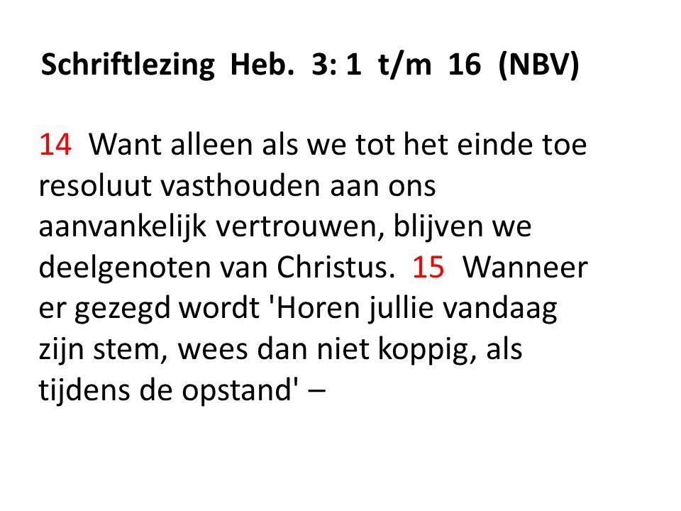 Schriftlezing Heb. 3: 1 t/m 16 (NBV) 14 Want alleen als we tot het einde toe resoluut vasthouden aan ons aanvankelijk vertrouwen, blijven we deelgenot