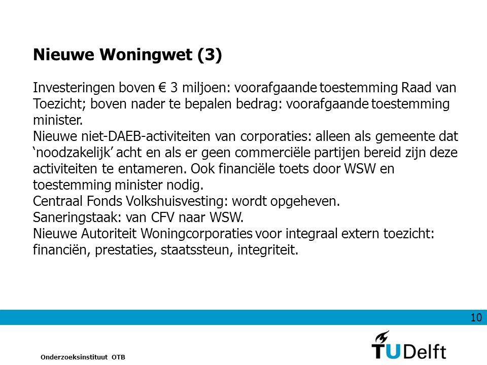 10 Onderzoeksinstituut OTB Investeringen boven € 3 miljoen: voorafgaande toestemming Raad van Toezicht; boven nader te bepalen bedrag: voorafgaande toestemming minister.