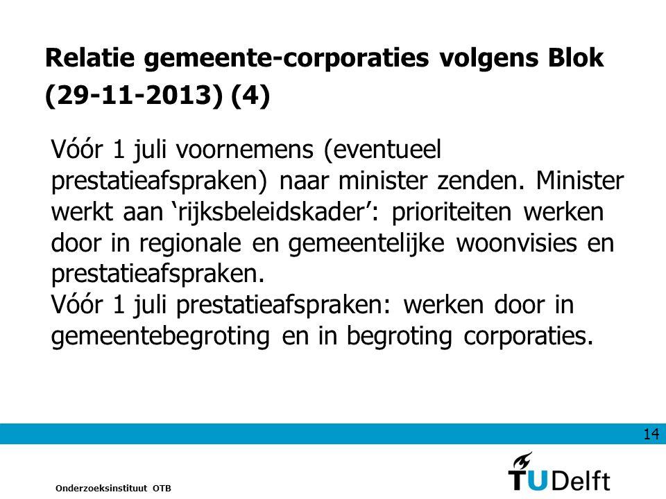 14 Onderzoeksinstituut OTB Relatie gemeente-corporaties volgens Blok (29-11-2013) (4) Vóór 1 juli voornemens (eventueel prestatieafspraken) naar minister zenden.