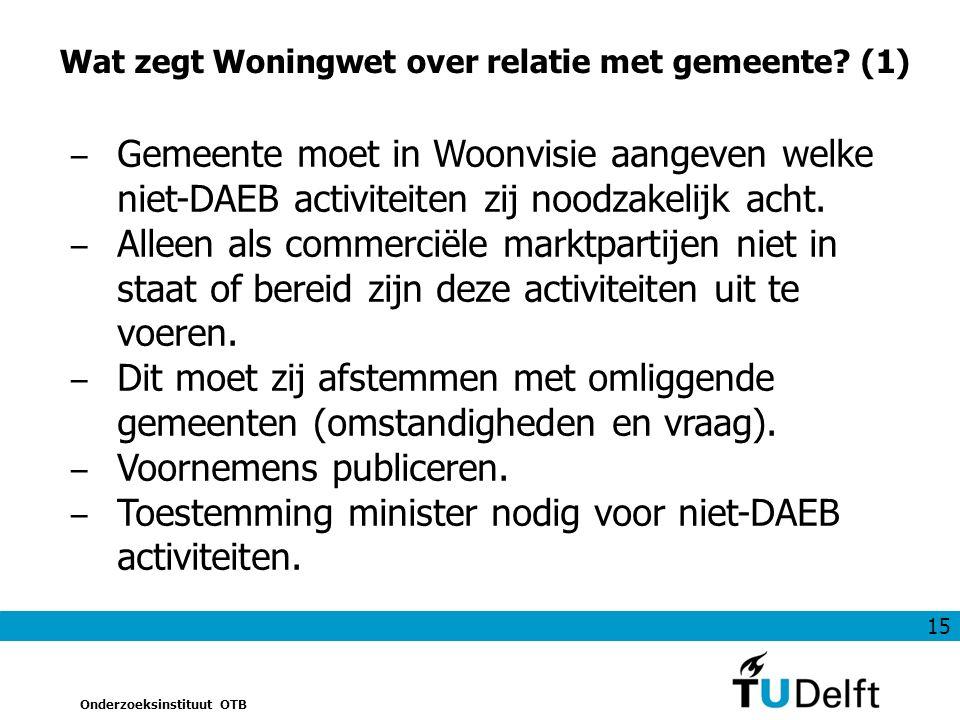 15 Onderzoeksinstituut OTB Wat zegt Woningwet over relatie met gemeente.