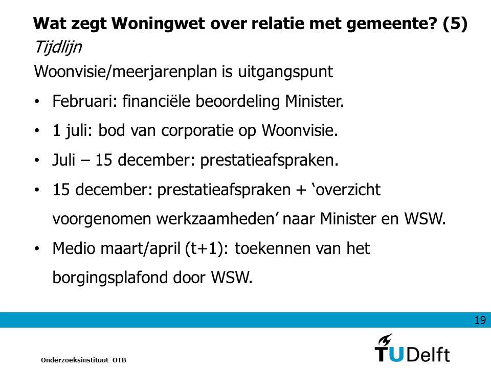 19 Onderzoeksinstituut OTB Wat zegt Woningwet over relatie met gemeente.
