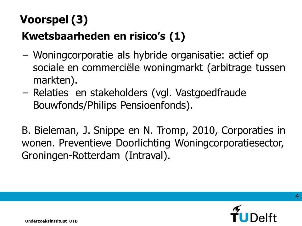 4 Onderzoeksinstituut OTB Voorspel (3) Kwetsbaarheden en risico's (1) −Woningcorporatie als hybride organisatie: actief op sociale en commerciële woningmarkt (arbitrage tussen markten).
