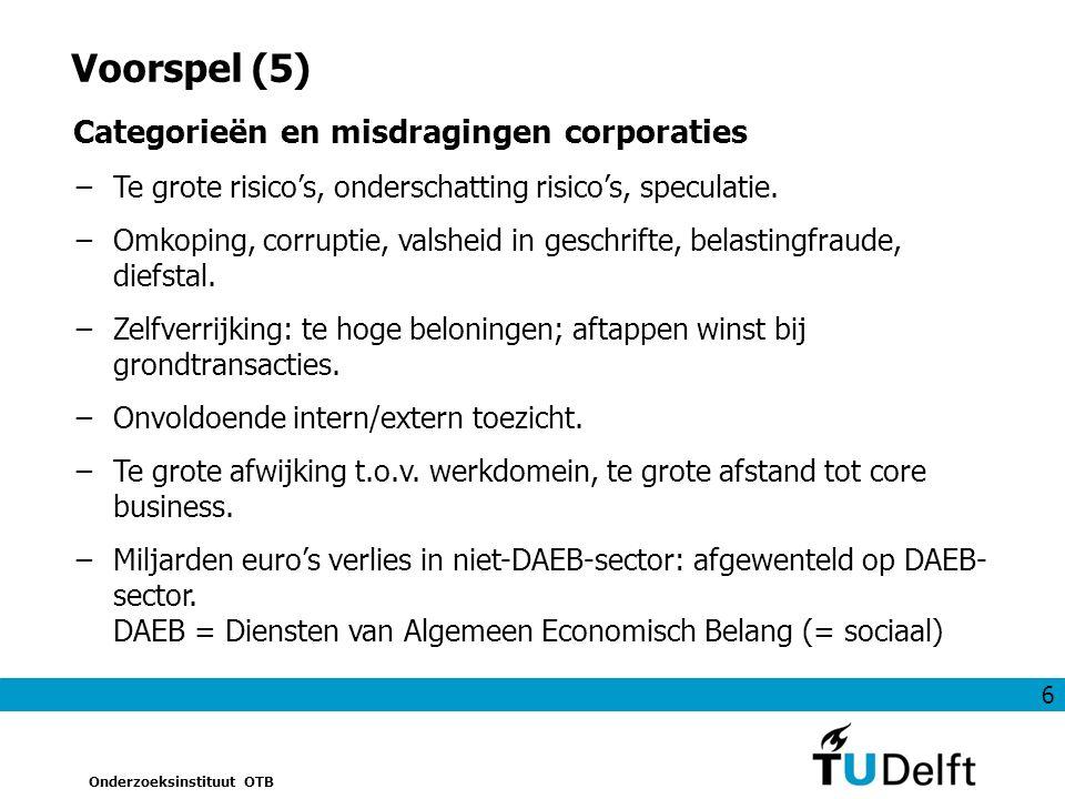 6 Onderzoeksinstituut OTB Voorspel (5) Categorieën en misdragingen corporaties −Te grote risico's, onderschatting risico's, speculatie.