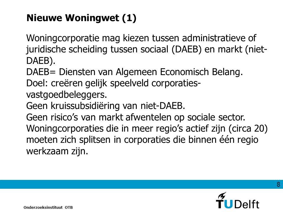 8 Onderzoeksinstituut OTB Nieuwe Woningwet (1) Woningcorporatie mag kiezen tussen administratieve of juridische scheiding tussen sociaal (DAEB) en markt (niet- DAEB).