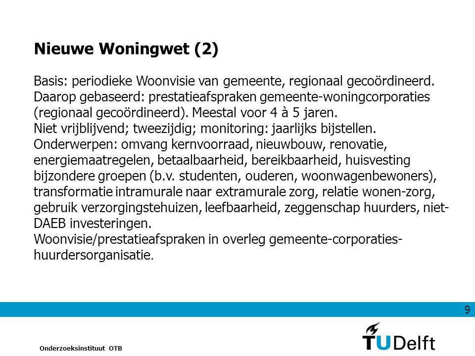 9 Onderzoeksinstituut OTB Basis: periodieke Woonvisie van gemeente, regionaal gecoördineerd.