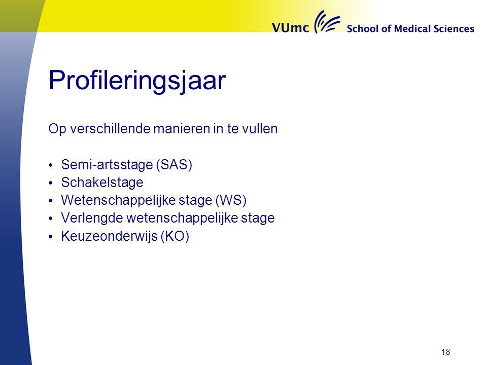 Profileringsjaar Op verschillende manieren in te vullen Semi-artsstage (SAS) Schakelstage Wetenschappelijke stage (WS) Verlengde wetenschappelijke stage Keuzeonderwijs (KO) 18