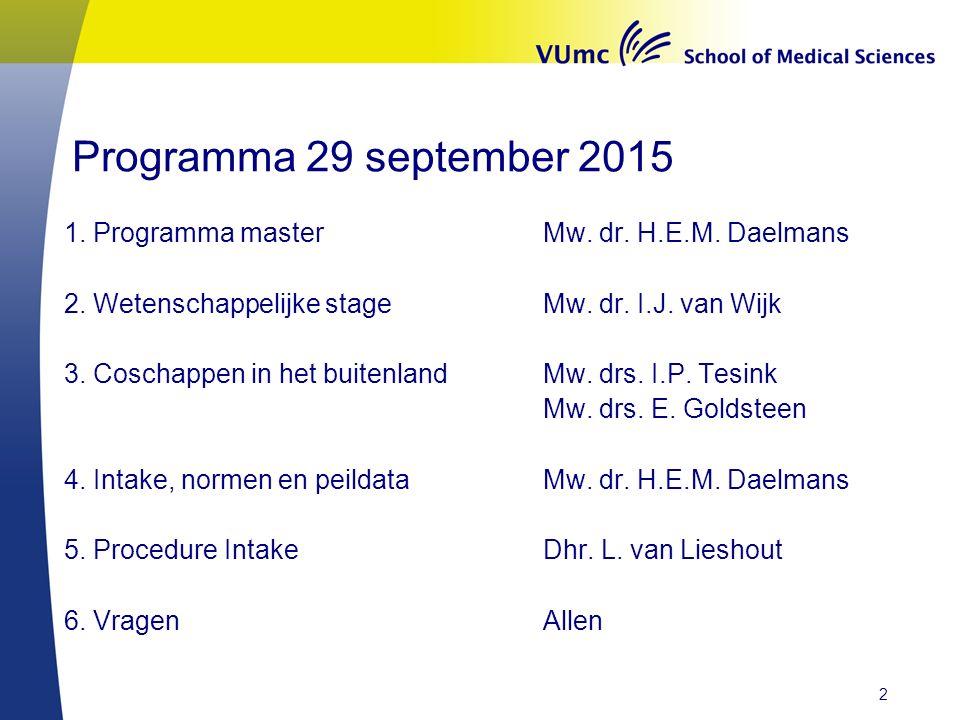 Programma 29 september 2015 1. Programma master Mw.