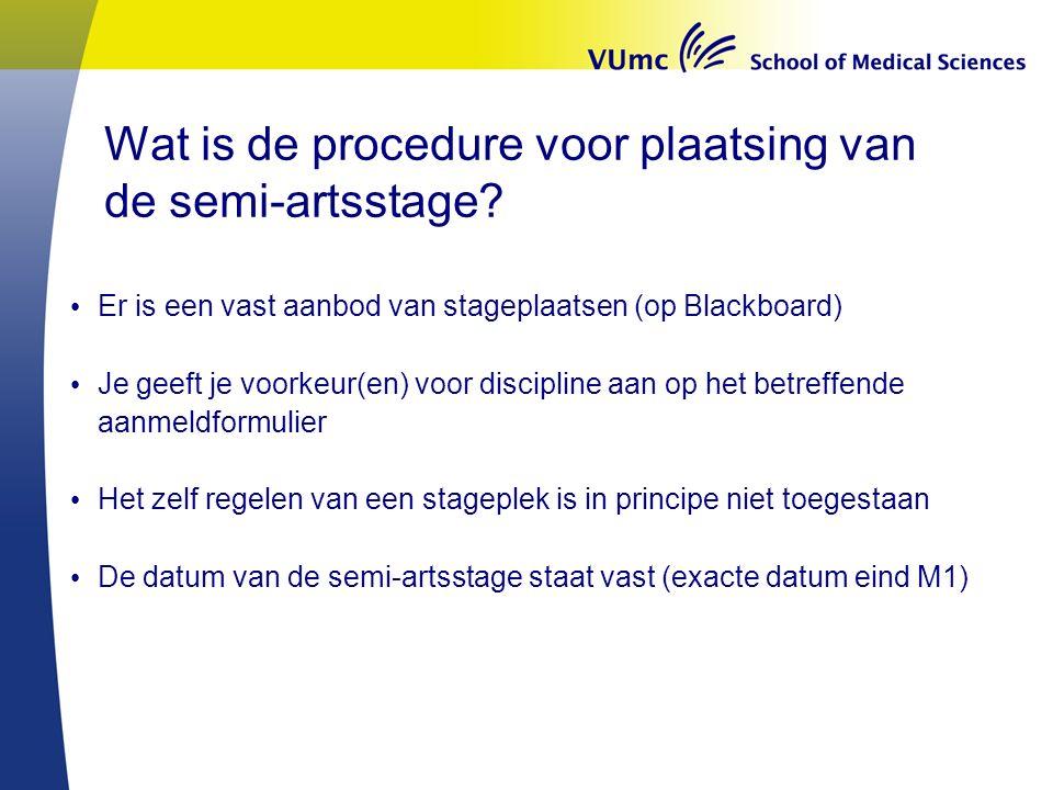 Wat is de procedure voor plaatsing van de semi-artsstage.