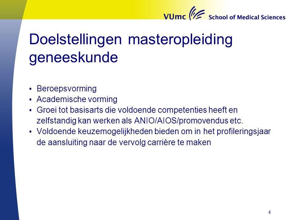 Doelstellingen masteropleiding geneeskunde Beroepsvorming Academische vorming Groei tot basisarts die voldoende competenties heeft en zelfstandig kan werken als ANIO/AIOS/promovendus etc.