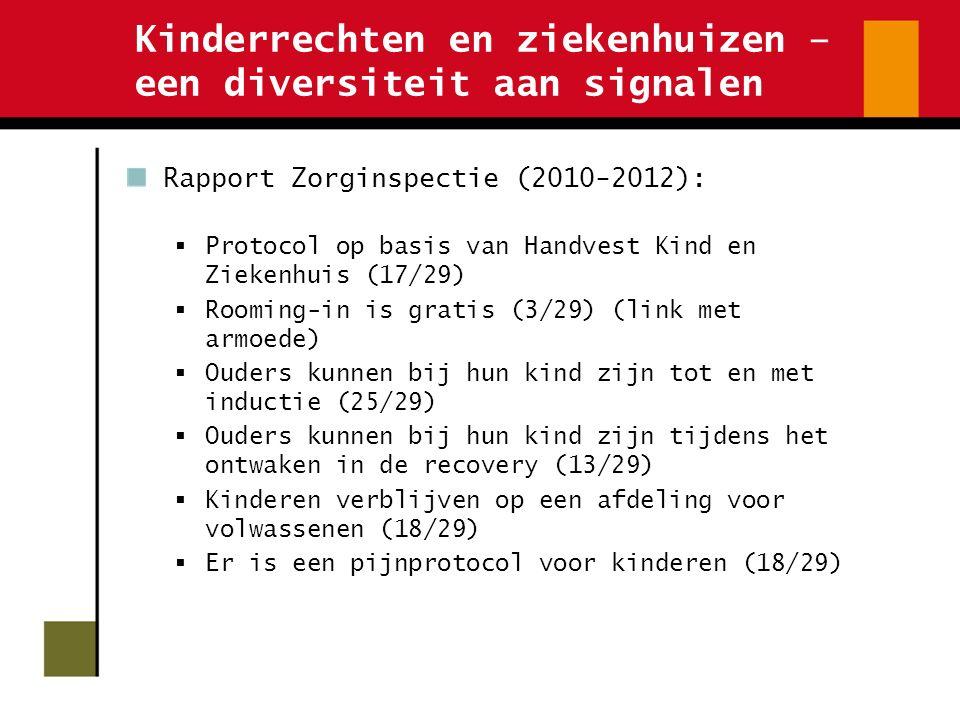 Kinderrechten en ziekenhuizen – een diversiteit aan signalen Rapport Zorginspectie (2010-2012):  Protocol op basis van Handvest Kind en Ziekenhuis (1