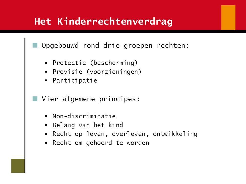 Het Kinderrechtenverdrag Opgebouwd rond drie groepen rechten:  Protectie (bescherming)  Provisie (voorzieningen)  Participatie Vier algemene principes:  Non-discriminatie  Belang van het kind  Recht op leven, overleven, ontwikkeling  Recht om gehoord te worden