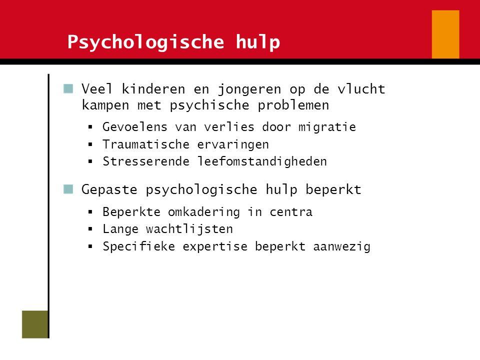 Psychologische hulp Veel kinderen en jongeren op de vlucht kampen met psychische problemen  Gevoelens van verlies door migratie  Traumatische ervari