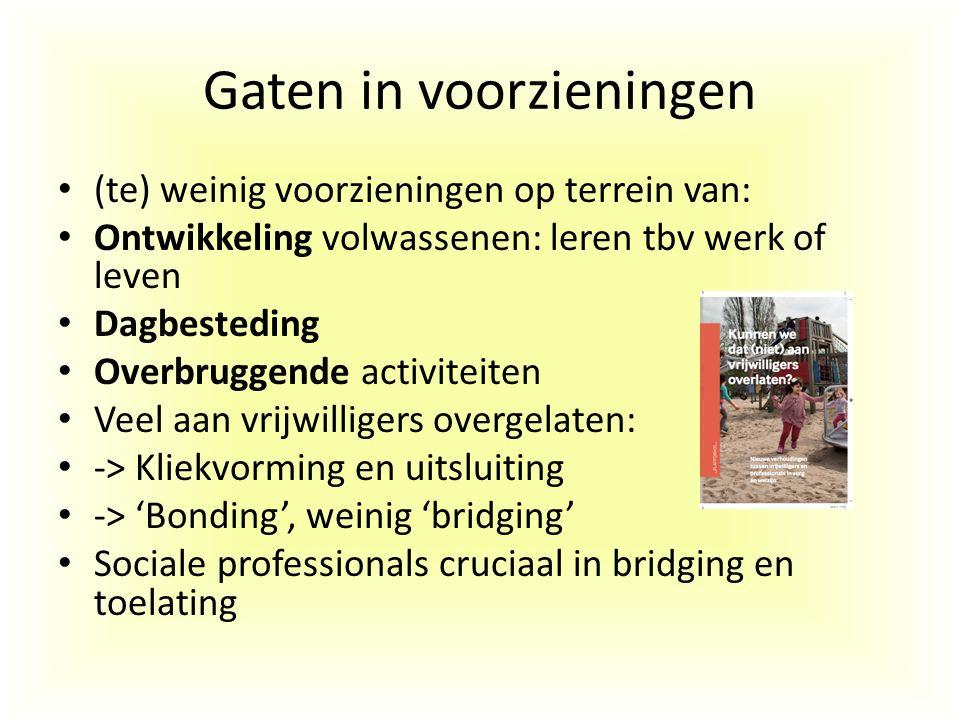 Gaten in voorzieningen (te) weinig voorzieningen op terrein van: Ontwikkeling volwassenen: leren tbv werk of leven Dagbesteding Overbruggende activite