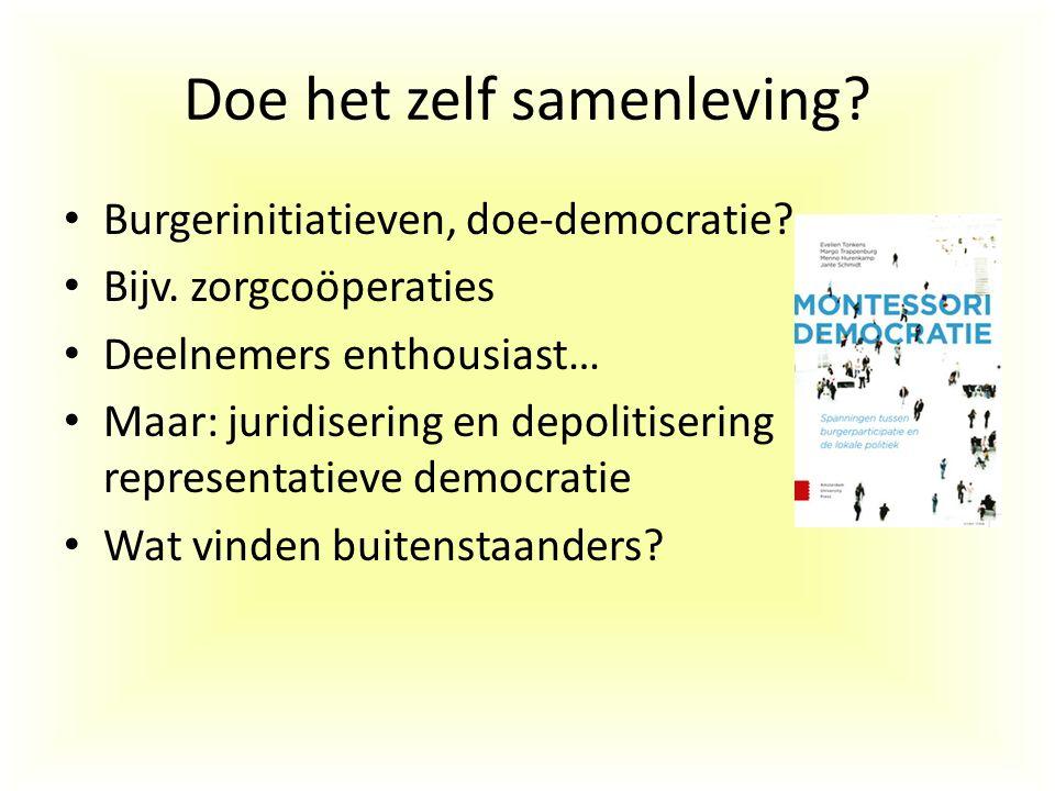 Doe het zelf samenleving? Burgerinitiatieven, doe-democratie? Bijv. zorgcoöperaties Deelnemers enthousiast… Maar: juridisering en depolitisering repre