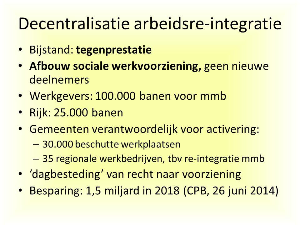 Decentralisatie arbeidsre-integratie Bijstand: tegenprestatie Afbouw sociale werkvoorziening, geen nieuwe deelnemers Werkgevers: 100.000 banen voor mm