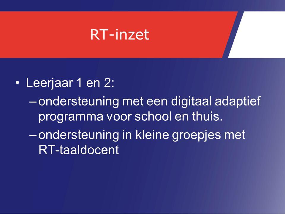 RT-inzet Leerjaar 1 en 2: –ondersteuning met een digitaal adaptief programma voor school en thuis. –ondersteuning in kleine groepjes met RT-taaldocent