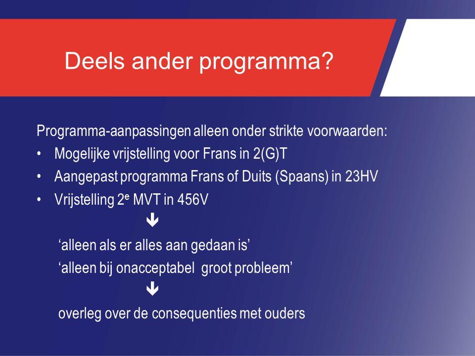 Deels ander programma? Programma-aanpassingen alleen onder strikte voorwaarden: Mogelijke vrijstelling voor Frans in 2(G)T Aangepast programma Frans o