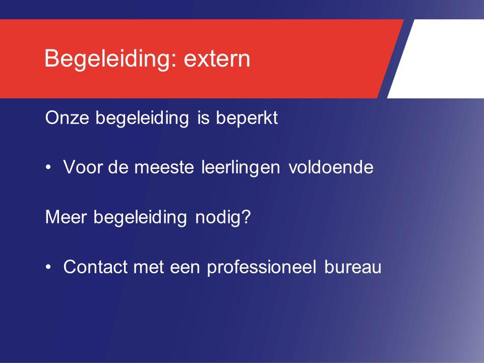 Begeleiding: extern Onze begeleiding is beperkt Voor de meeste leerlingen voldoende Meer begeleiding nodig? Contact met een professioneel bureau