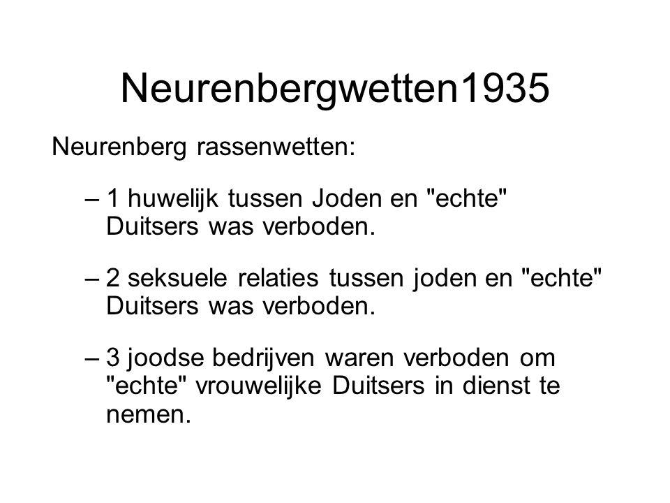 Neurenbergwetten1935 Neurenberg rassenwetten: –1 huwelijk tussen Joden en echte Duitsers was verboden.