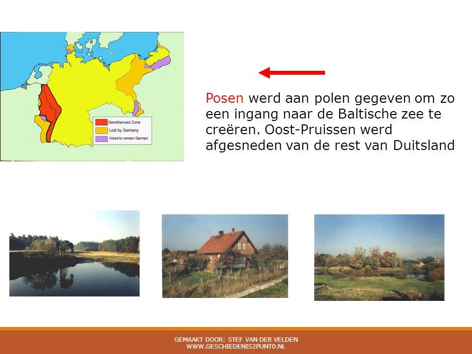 Posen werd aan polen gegeven om zo een ingang naar de Baltische zee te creëren. Oost-Pruissen werd afgesneden van de rest van Duitsland