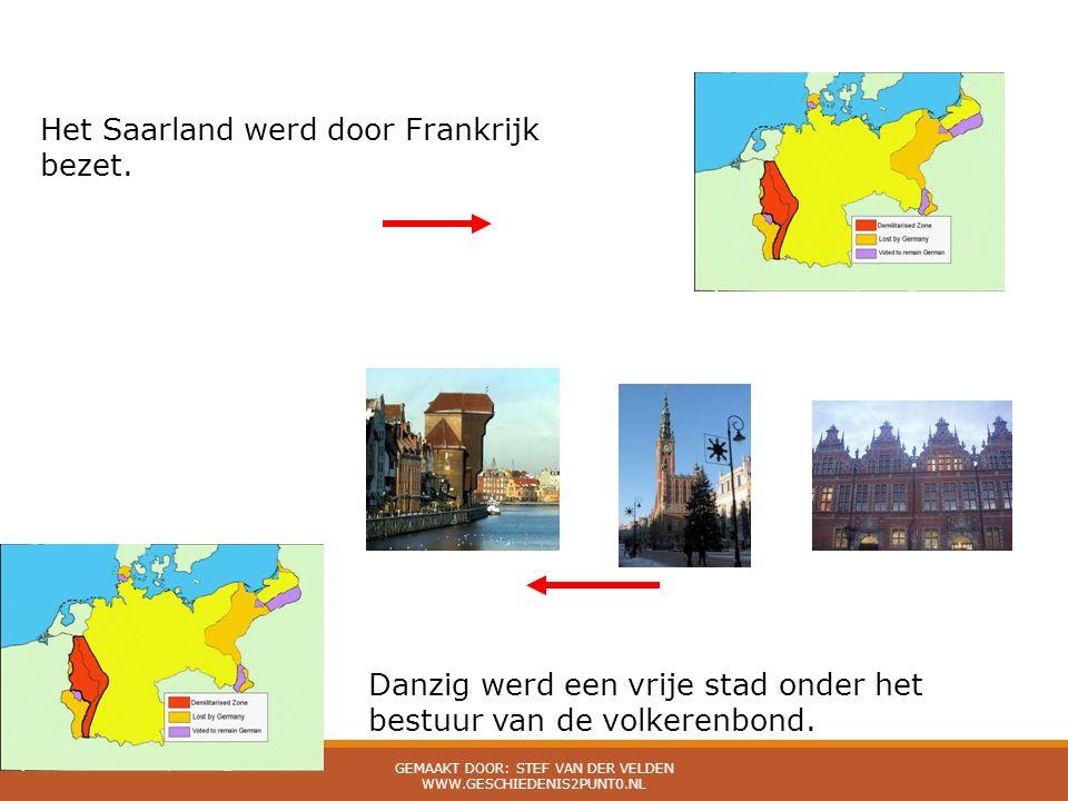 Het Saarland werd door Frankrijk bezet. Danzig werd een vrije stad onder het bestuur van de volkerenbond.
