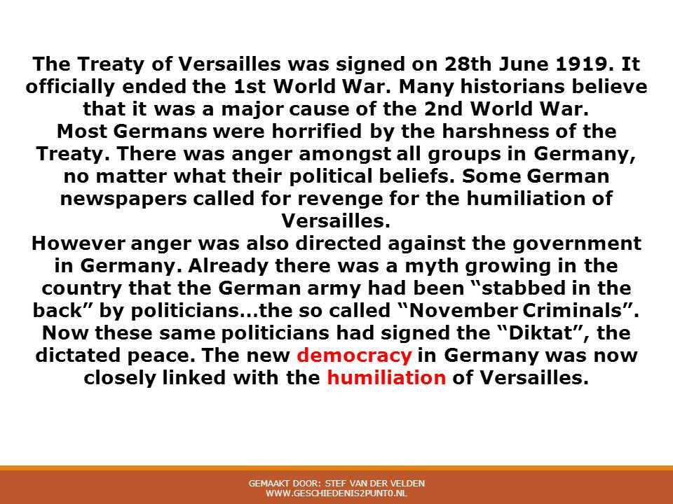 The Treaty of Versailles was signed on 28th June 1919.