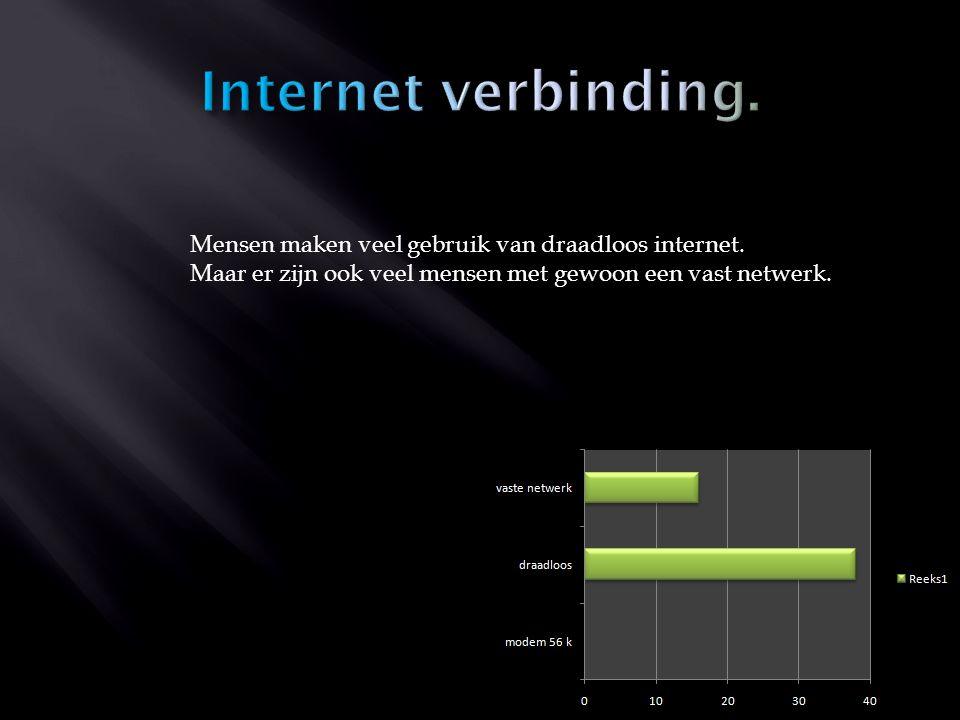 Mensen maken veel gebruik van draadloos internet. Maar er zijn ook veel mensen met gewoon een vast netwerk.