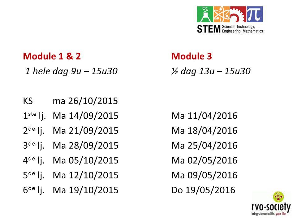 Module 1 & 2Module 3 1 hele dag 9u – 15u30½ dag 13u – 15u30 KSma 26/10/2015 1 ste lj.Ma 14/09/2015Ma 11/04/2016 2 de lj.Ma 21/09/2015Ma 18/04/2016 3 d