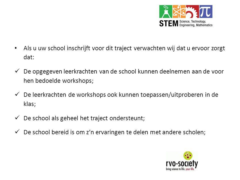 Als u uw school inschrijft voor dit traject verwachten wij dat u ervoor zorgt dat: De opgegeven leerkrachten van de school kunnen deelnemen aan de voo