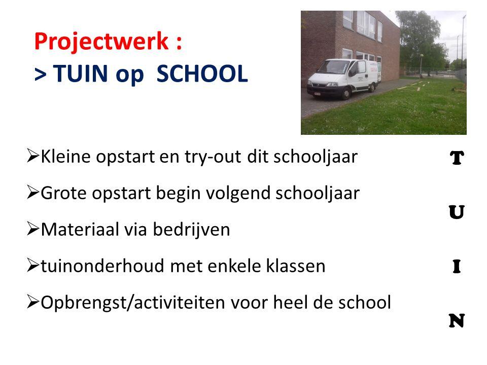 Projectwerk : > TUIN op SCHOOL  Kleine opstart en try-out dit schooljaar  Grote opstart begin volgend schooljaar  Materiaal via bedrijven  tuinond