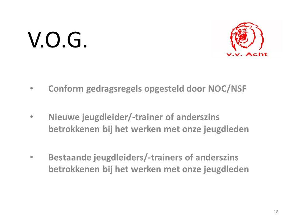 V.O.G. Conform gedragsregels opgesteld door NOC/NSF Nieuwe jeugdleider/-trainer of anderszins betrokkenen bij het werken met onze jeugdleden Bestaande