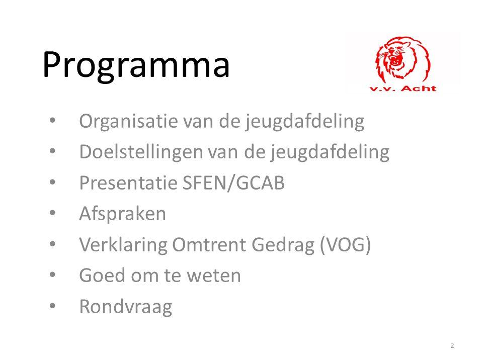 Programma Organisatie van de jeugdafdeling Doelstellingen van de jeugdafdeling Presentatie SFEN/GCAB Afspraken Verklaring Omtrent Gedrag (VOG) Goed om