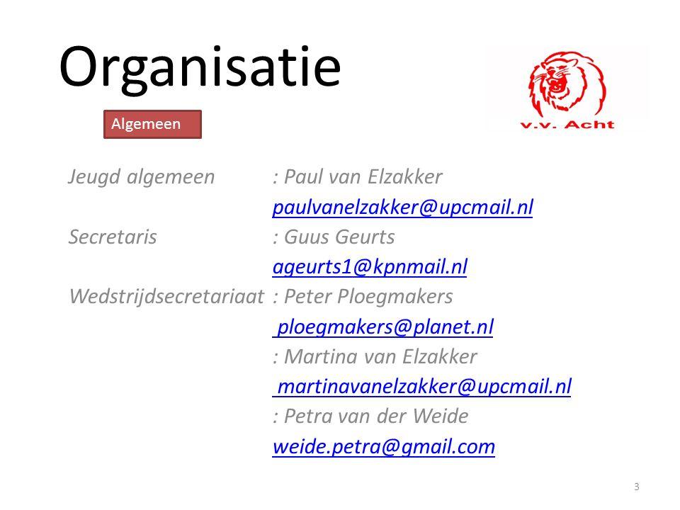 Organisatie Jeugd algemeen: Paul van Elzakker paulvanelzakker@upcmail.nl Secretaris: Guus Geurts ageurts1@kpnmail.nl Wedstrijdsecretariaat: Peter Ploe