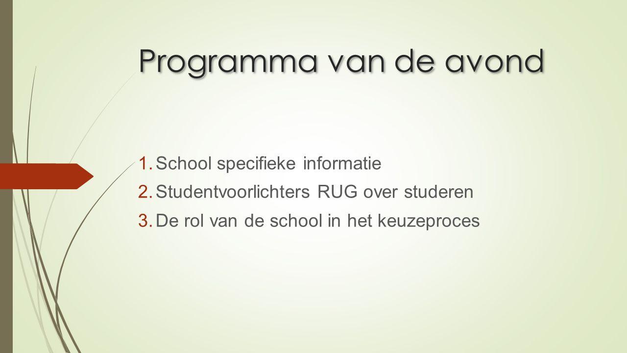 Programma van de avond 1.School specifieke informatie 2.Studentvoorlichters RUG over studeren 3.De rol van de school in het keuzeproces