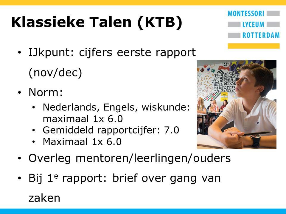 Klassieke Talen (KTB) IJkpunt: cijfers eerste rapport (nov/dec) Norm: Nederlands, Engels, wiskunde: maximaal 1x 6.0 Gemiddeld rapportcijfer: 7.0 Maxim