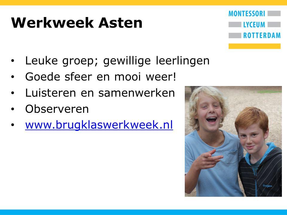 Werkweek Asten Leuke groep; gewillige leerlingen Goede sfeer en mooi weer! Luisteren en samenwerken Observeren www.brugklaswerkweek.nl