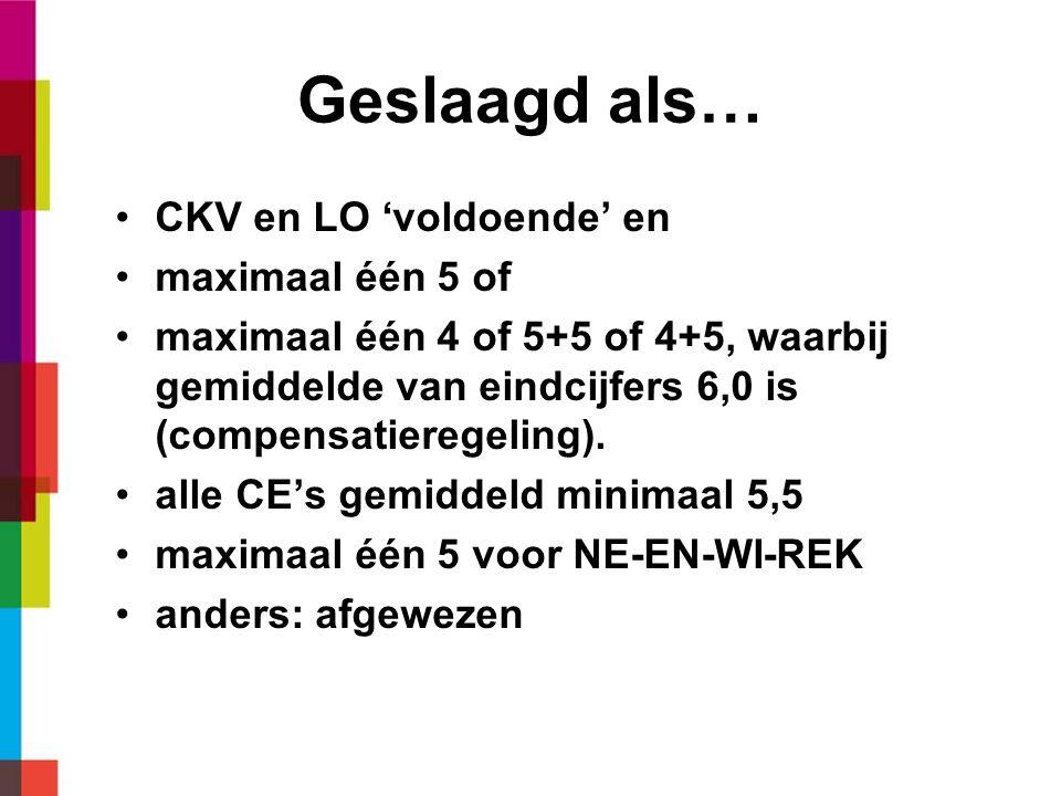 Geslaagd als… CKV en LO 'voldoende' en maximaal één 5 of maximaal één 4 of 5+5 of 4+5, waarbij gemiddelde van eindcijfers 6,0 is (compensatieregeling).
