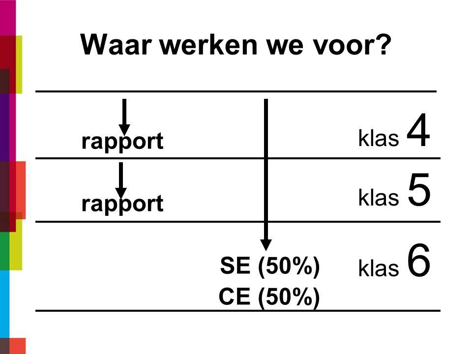 Waar werken we voor rapport SE (50%) CE (50%) klas 4 klas 5 klas 6