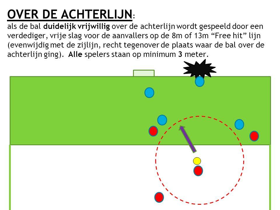 OVER DE ACHTERLIJN : als de bal duidelijk vrijwillig over de achterlijn wordt gespeeld door een verdediger, vrije slag voor de aanvallers op de 8m of