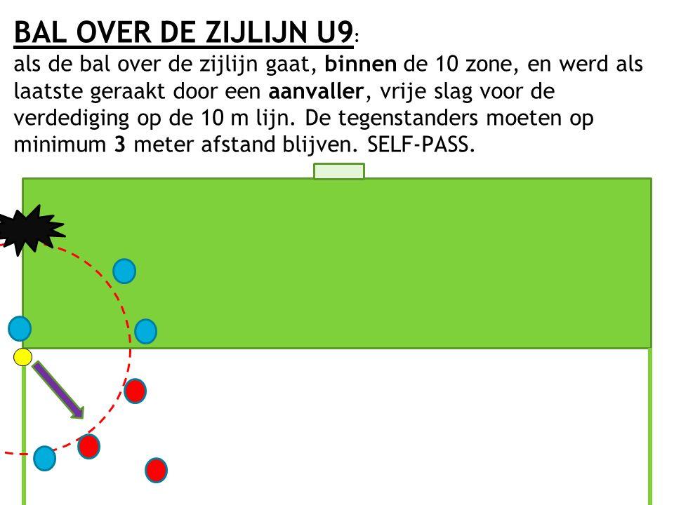 BAL OVER DE ZIJLIJN U9 : als de bal over de zijlijn gaat, binnen de 10 zone, en werd als laatste geraakt door een aanvaller, vrije slag voor de verded
